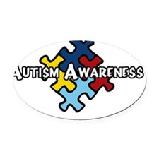 Autism Patch white Oval Car Magnet