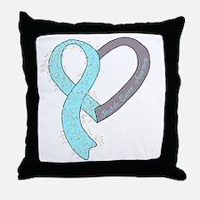 new heart ribbon LT BLUE Throw Pillow