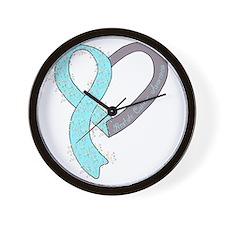 new heart ribbon LT BLUE Wall Clock