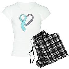 new heart ribbon LT BLUE Pajamas