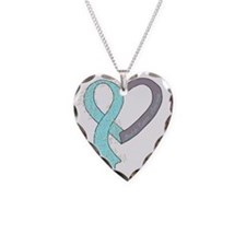 new heart ribbon LT BLUE Necklace