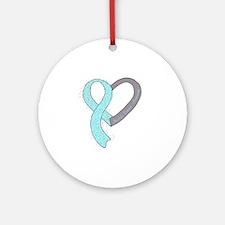 new heart ribbon LT BLUE Round Ornament