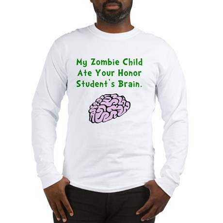 Zombie Child Brain Green Long Sleeve T-Shirt