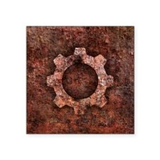 "steampunk grunge gear mouse Square Sticker 3"" x 3"""