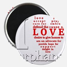 i love orphans white red LARGE drop shadow Magnet