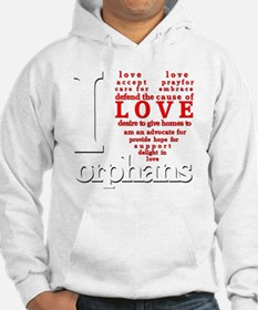 i love orphans white red LARGE d Hoodie