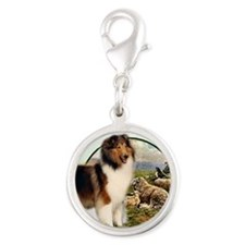 collie with sheep adjusted 6 Silver Round Charm