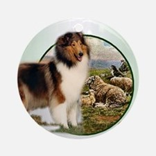 collie with sheep adjusted 6 Round Ornament