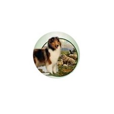 collie with sheep adjusted 6 Mini Button