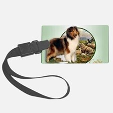 collie with sheep adjusted 6 Luggage Tag