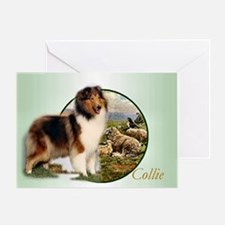 collie with sheep adjusted 6 Greeting Card
