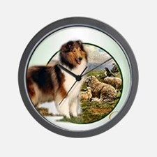 collie with sheep adjusted 6 Wall Clock