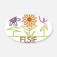 ELSIE-cute-flowers Oval Car Magnet