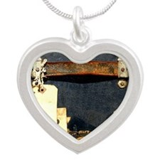 steampunk luggage Silver Heart Necklace