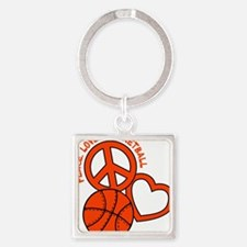 P,L,Basketball, neon orange Square Keychain