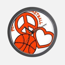 P,L,Basketball, neon orange Wall Clock