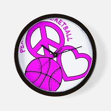 P,L,Basketball, hot pink Wall Clock