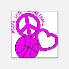 "P,L,Basketball, hot pink Square Sticker 3"" x 3"""