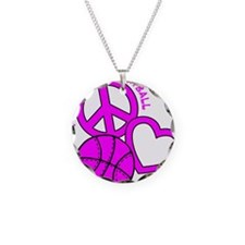 P,L,Basketball, hot pink Necklace