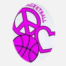 P,L,Basketball, hot pink Oval Ornament