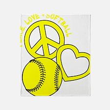 P,L,Softball, yellow Throw Blanket