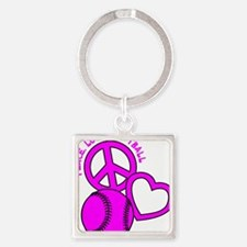 P,L,Softball, hot pink Square Keychain