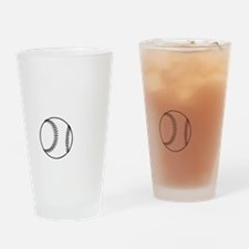 P,L,Baseball, white Drinking Glass