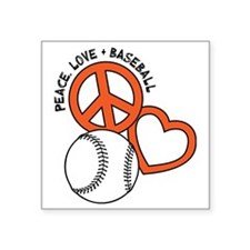 "P,L,Baseball, orange Square Sticker 3"" x 3"""