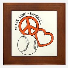 P,L,Baseball, orange Framed Tile