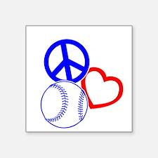 """P,L,Baseball, RWB on black Square Sticker 3"""" x 3"""""""
