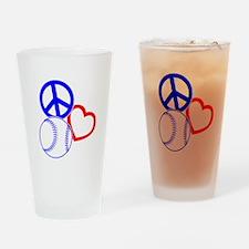 P,L,Baseball, RWB on black Drinking Glass