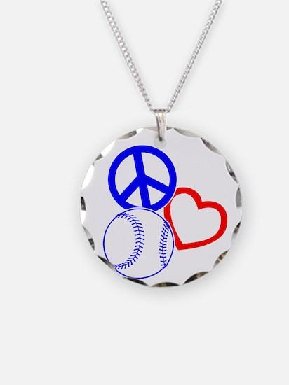 P,L,Baseball, RWB on black Necklace