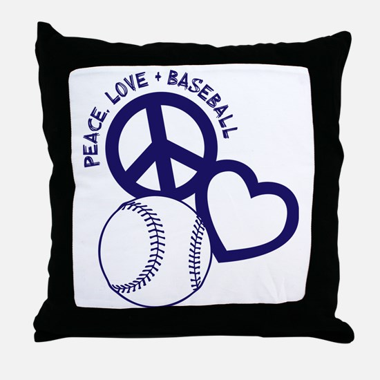 P,L,Baseball, navy Throw Pillow