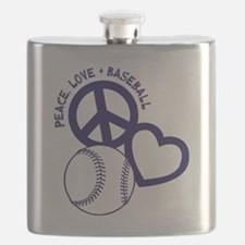 P,L,Baseball, navy Flask