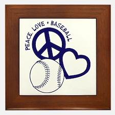 P,L,Baseball, navy Framed Tile
