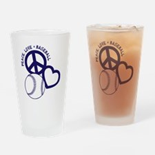 P,L,Baseball, navy Drinking Glass