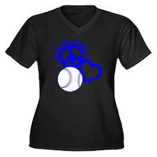 P,L,Baseball Women's Plus Size Dark V-Neck T-Shirt