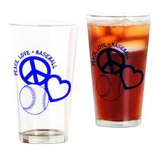 P,L,Baseball, blue Drinking Glass