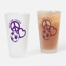 P,L,Soccer, purple Drinking Glass