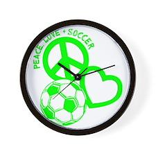 P,L,Soccer, neon green Wall Clock