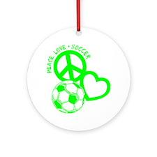 P,L,Soccer, neon green Round Ornament
