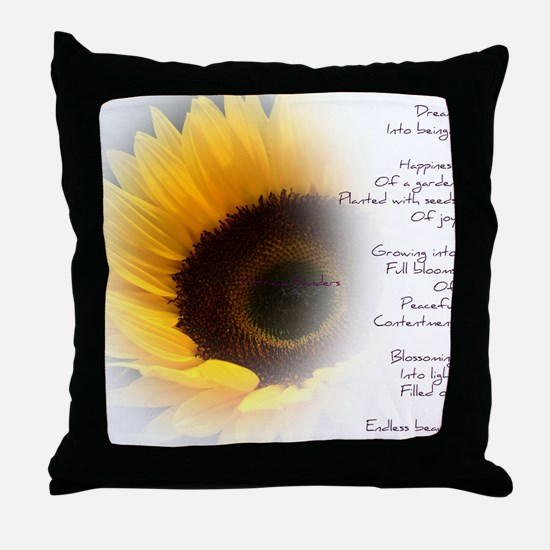 Sunflower Dream Poem Throw Pillow