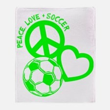 P,L,Soccer, neon green Throw Blanket