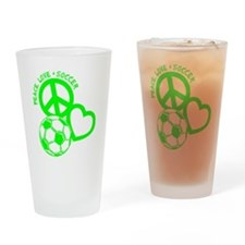 P,L,Soccer, neon green Drinking Glass