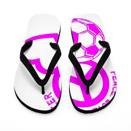P,L,Soccer, hot pink Flip Flops