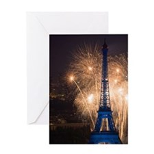July 14 fireworks at the Eiffel Towe Greeting Card