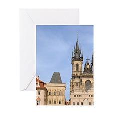 Old town square, Czech Republic, Pra Greeting Card