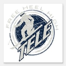 "free heel high 3 Square Car Magnet 3"" x 3"""