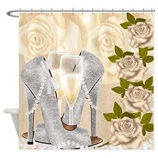 Classy Champagne, Shoes And Roses Shower Curtain
