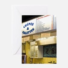 French man working at a Creperie in  Greeting Card